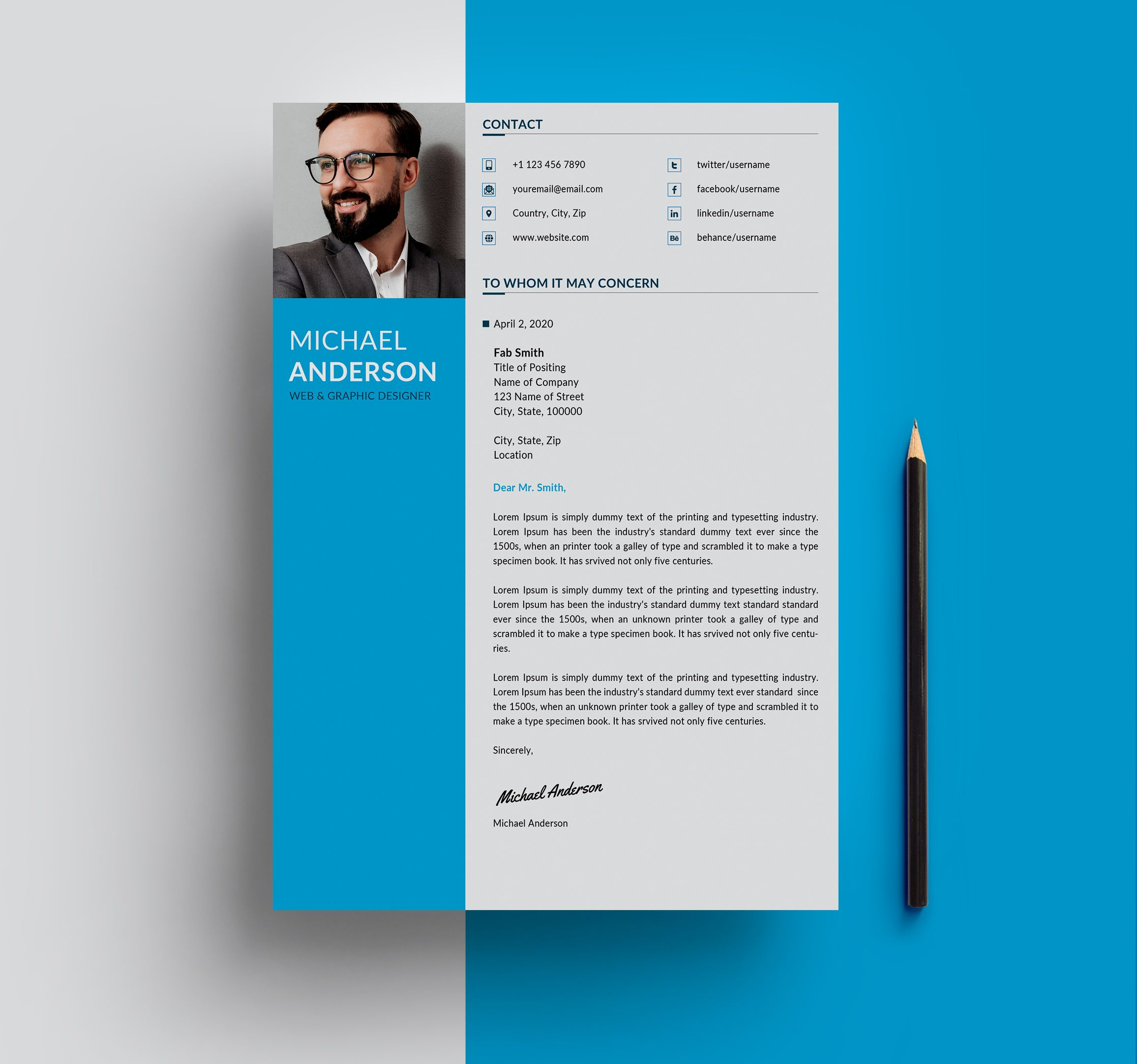 Free Resume + Cover Letter Templates (PSD) in 2020 Cover