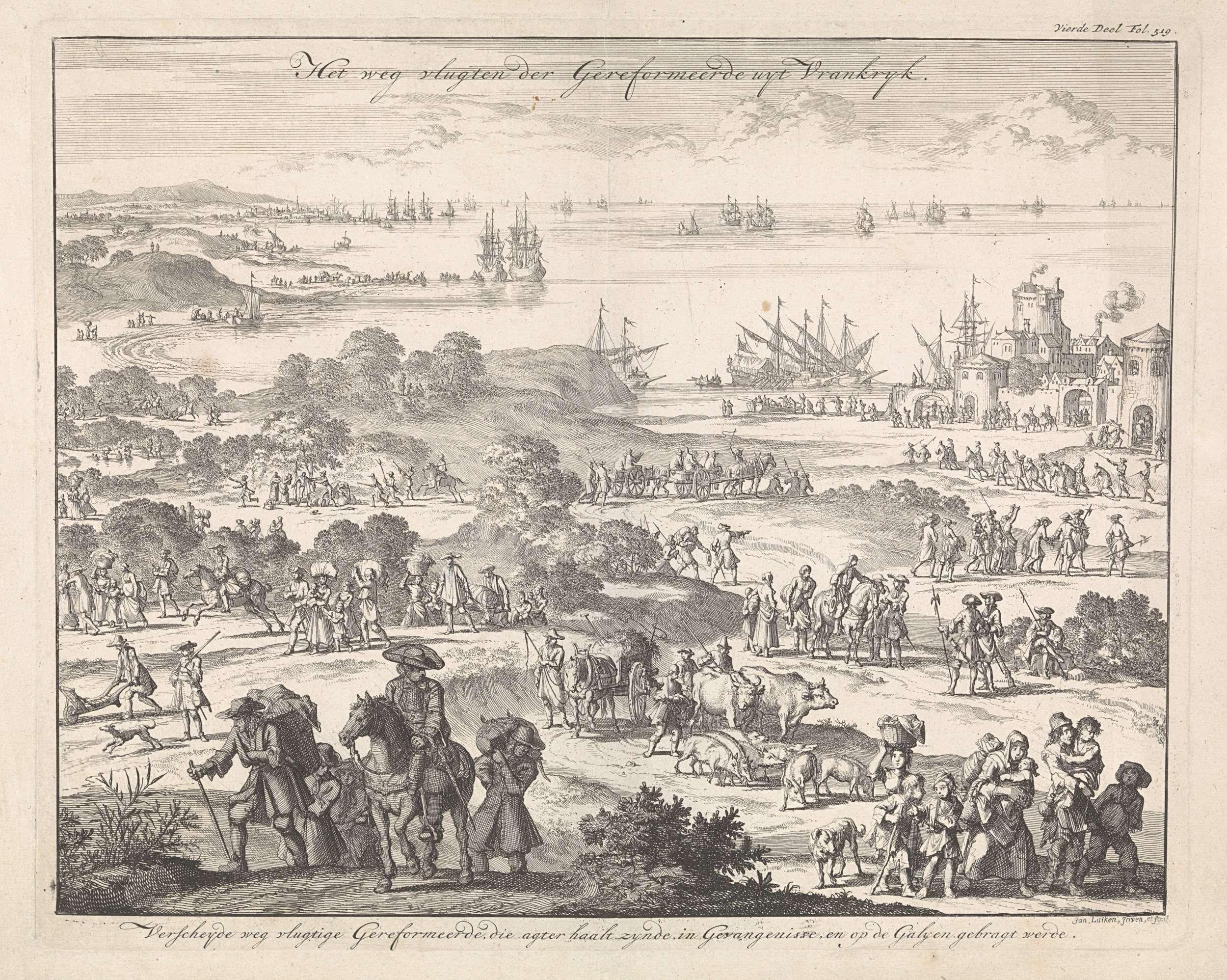 Jan Luyken | Protestanten vluchten uit Frankrijk na de herroeping van het Edict van Nantes, 1685-1686, Jan Luyken, 1696 | Prent rechtsboven gemerkt: Vierde Deel Fol. 519.