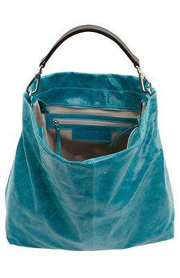 New Gianni Chiarini LG Turquoise Slouchy Leather Hobo Tote Bag Shopper $495 | eBay