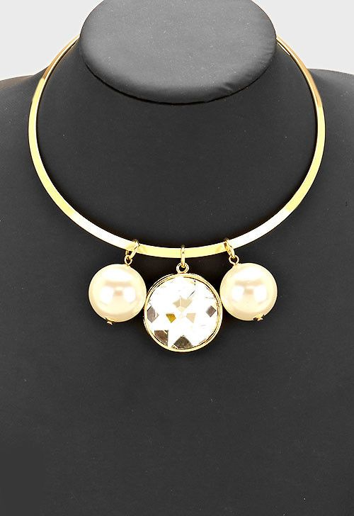 Trio crystal and Faux pearl choker necklace