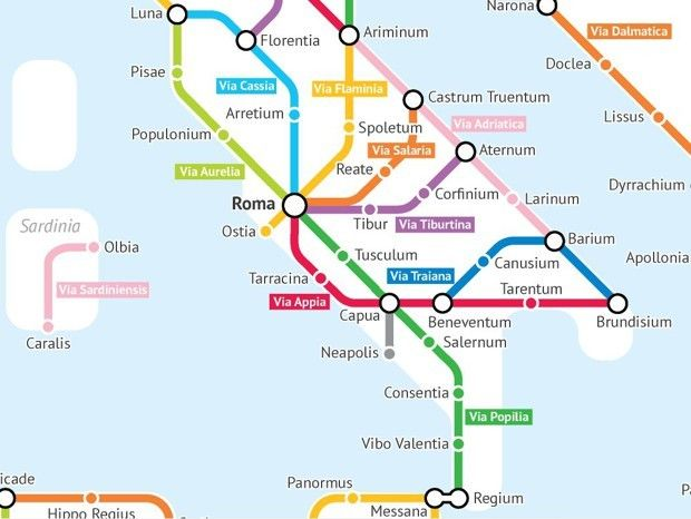 A Fantasy Subway Map of Ancient Roman Roads | Map-o-Spread ...