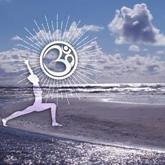 Bilder Wanddekoration tolle Fotomotive aus dem Yoga Kontext hier Yoga Pose der Held am Strand mit OM...