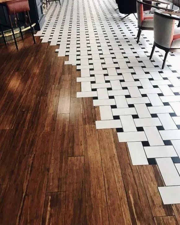 9 Best Tile To Wood Floor Transition Ideas 3 | Wood Floor Design, Tile To Wood Transition, Floor Tile Design