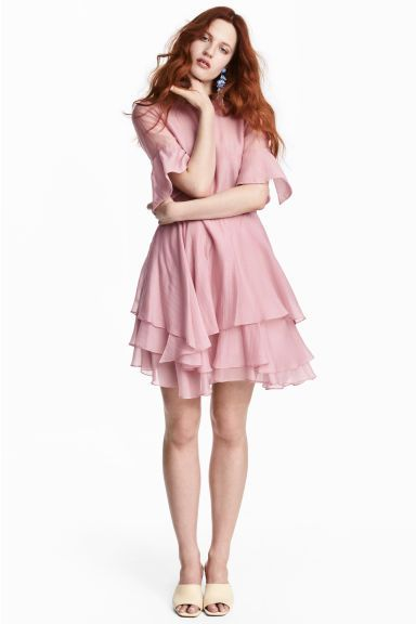 Lyocell-blend tiered dress - Pink - Ladies | H&M GB 1