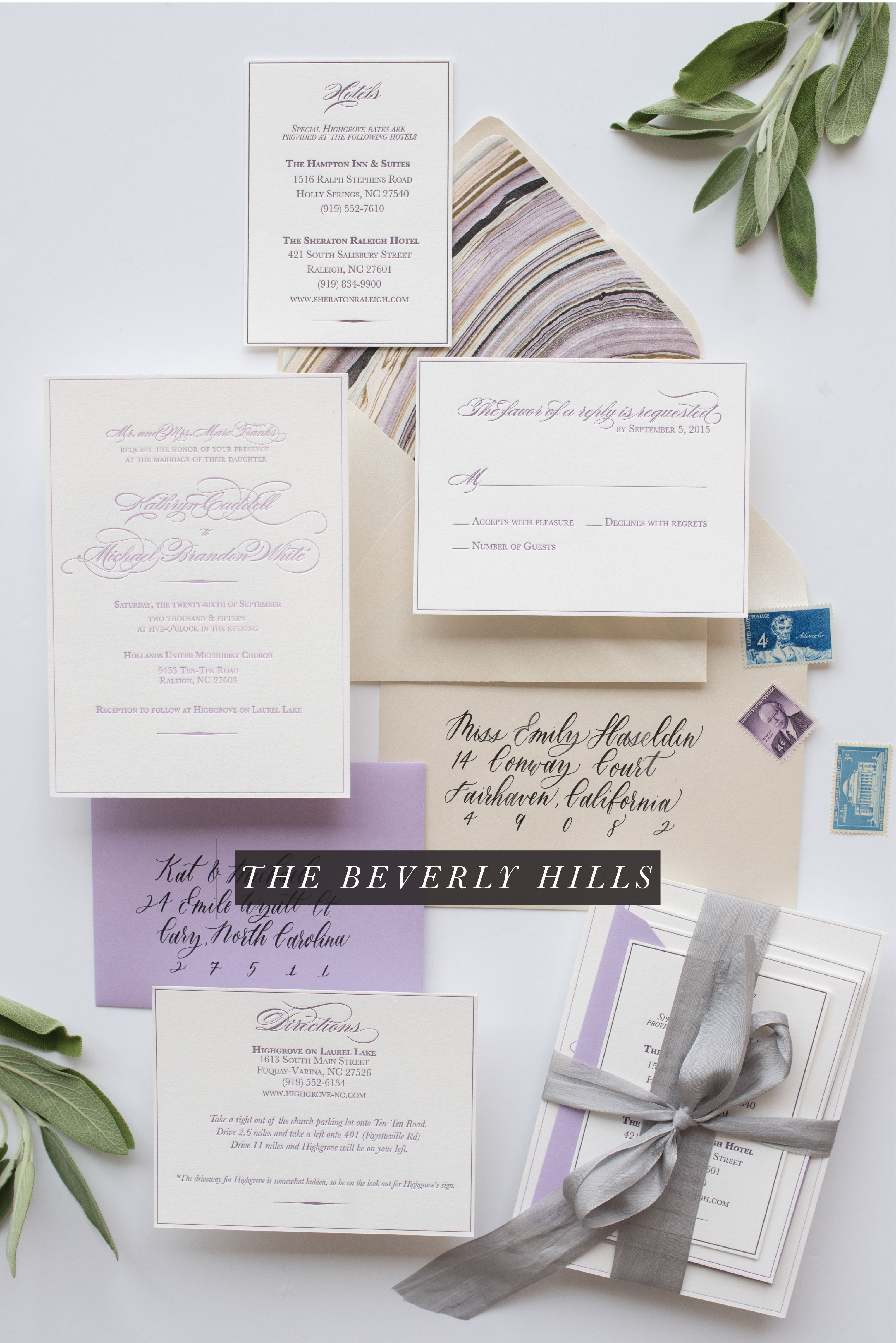 Letterpress wedding invitation purple lavender marble envelope