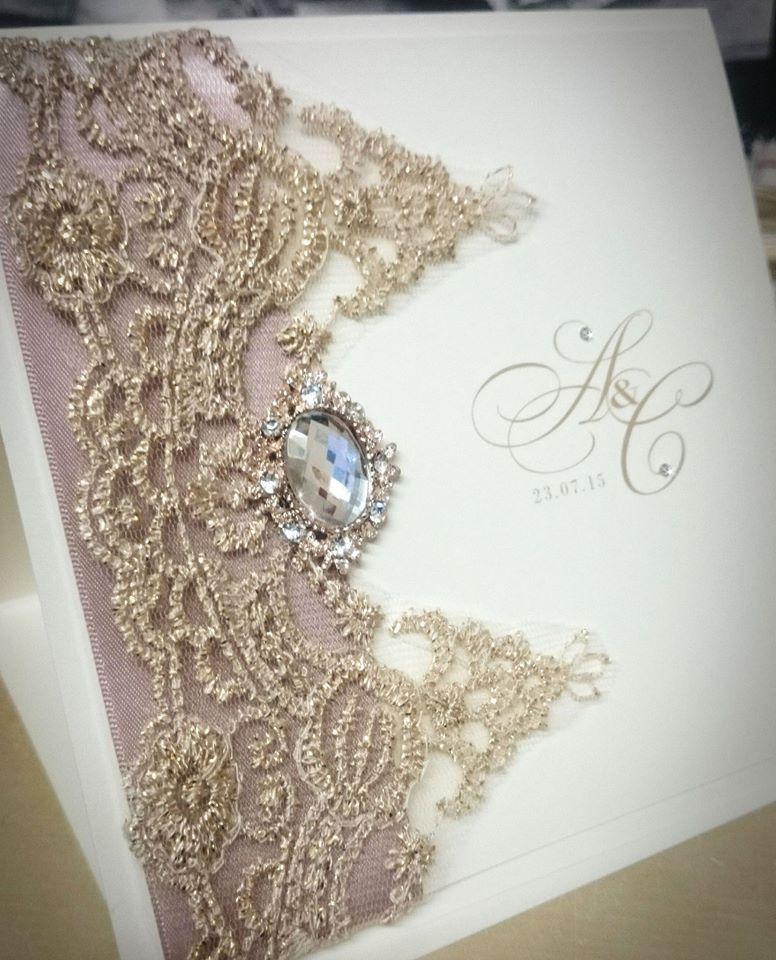 Gold Lace Blush Jewel Couture Wedding Invitation, Soft Gold Scallop ...