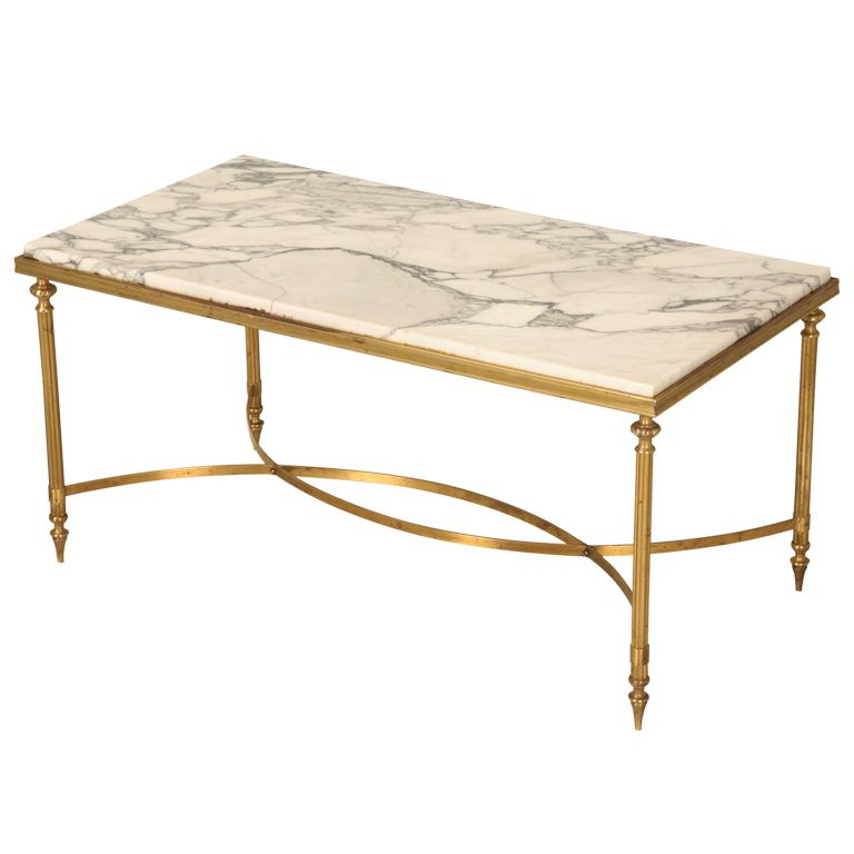 Amazing Vintage French Transitional Tail Table W Marble Top