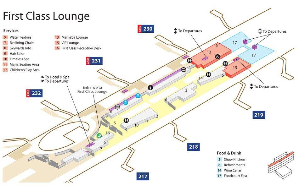 Emirates Terminal 3 First Class Lounge Map