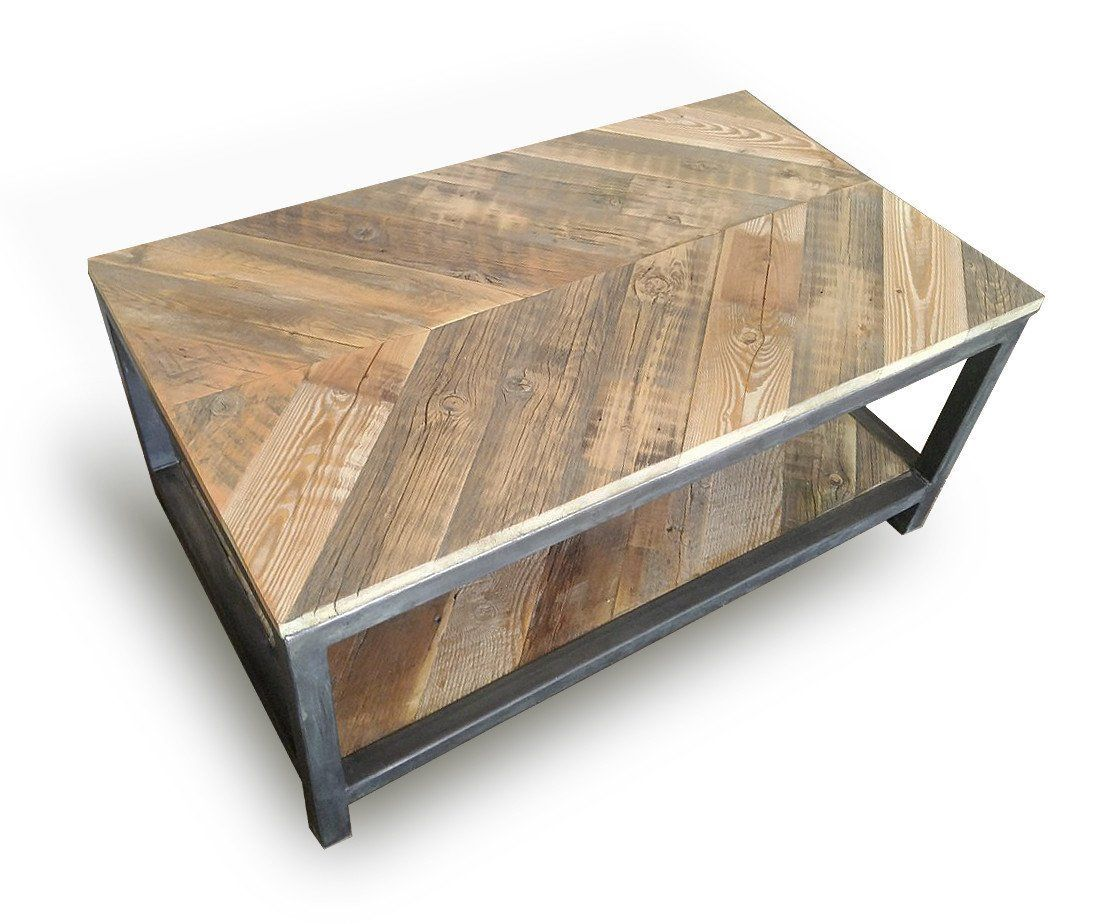 Reclaimed Wood And Metal Coffee Table Two Tier Chevron Pattern