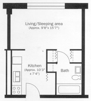 Studio Apartment Floor Plan | Plans | Pinterest | Studio apartment ...