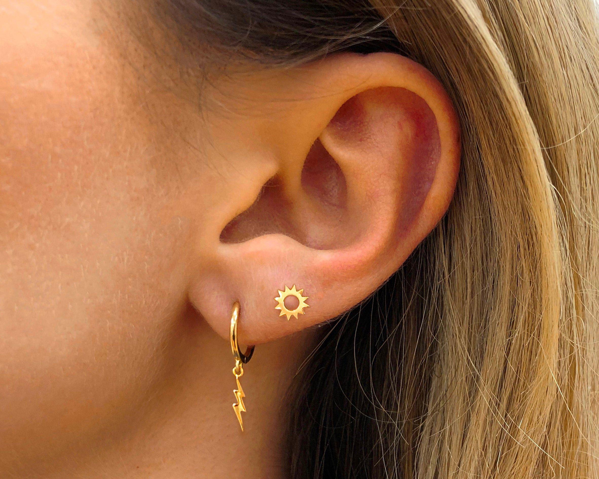 sterling silver crystal boho vintage helix cartilage small studs Minimalist Emerald Cut diamond gemstone bridal wedding tiny stud earrings