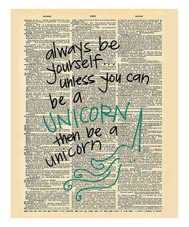 Look what I found on #zulily! 'Be a Unicorn' Dictionary Print #zulilyfinds