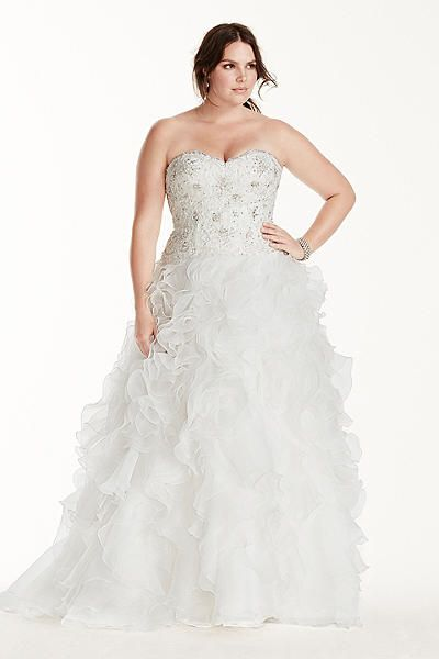 Superb Fashion Bug Plus Size Organza Ball Gown Wedding Dress with Ruffle Skirt Style