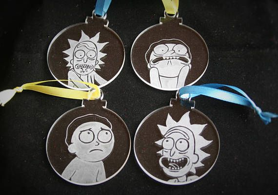 rick and morty christmas ornaments hand engraved hanging hand engraving rick and morty christmas