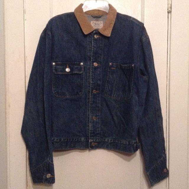 Polo Ralph Lauren Authentic dungarees Denim Jacket Corduroy Collar Medium #PoloRalphLauren #BasicJacket #Casual