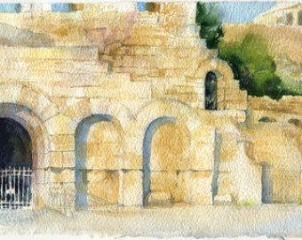 Impresión de acuarela pintura arquitectura pintura por OlgaSternyk