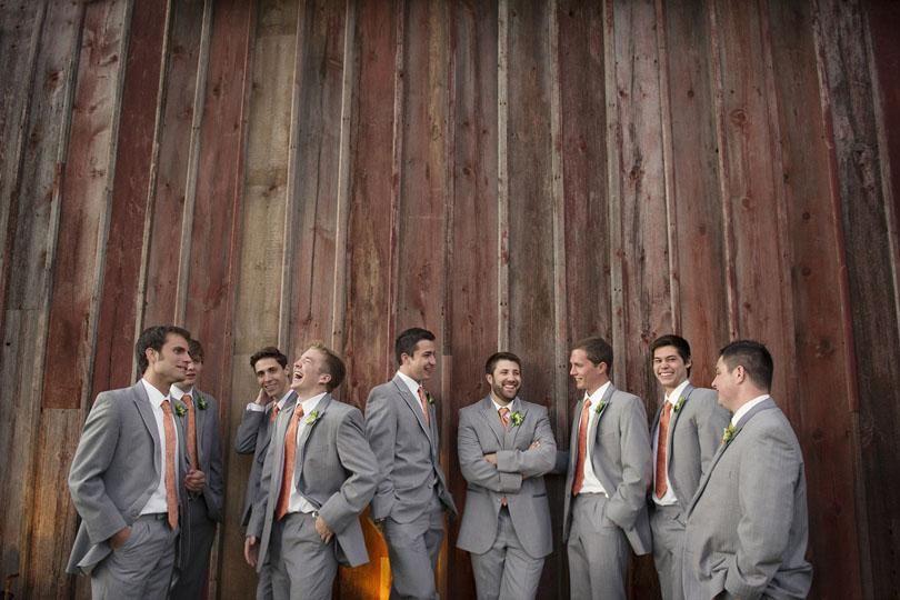 For The Boys Grey Orange Tie Suit