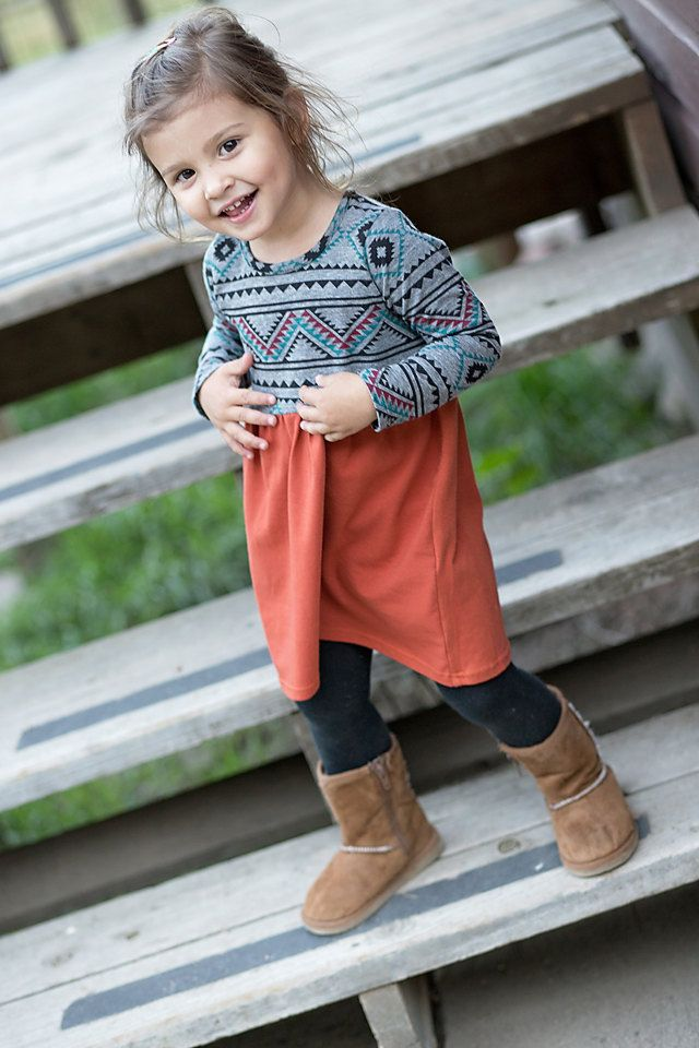 A personal favorite from my Etsy shop https://www.etsy.com/listing/206723365/aztec-print-dresslong-sleeve-kids