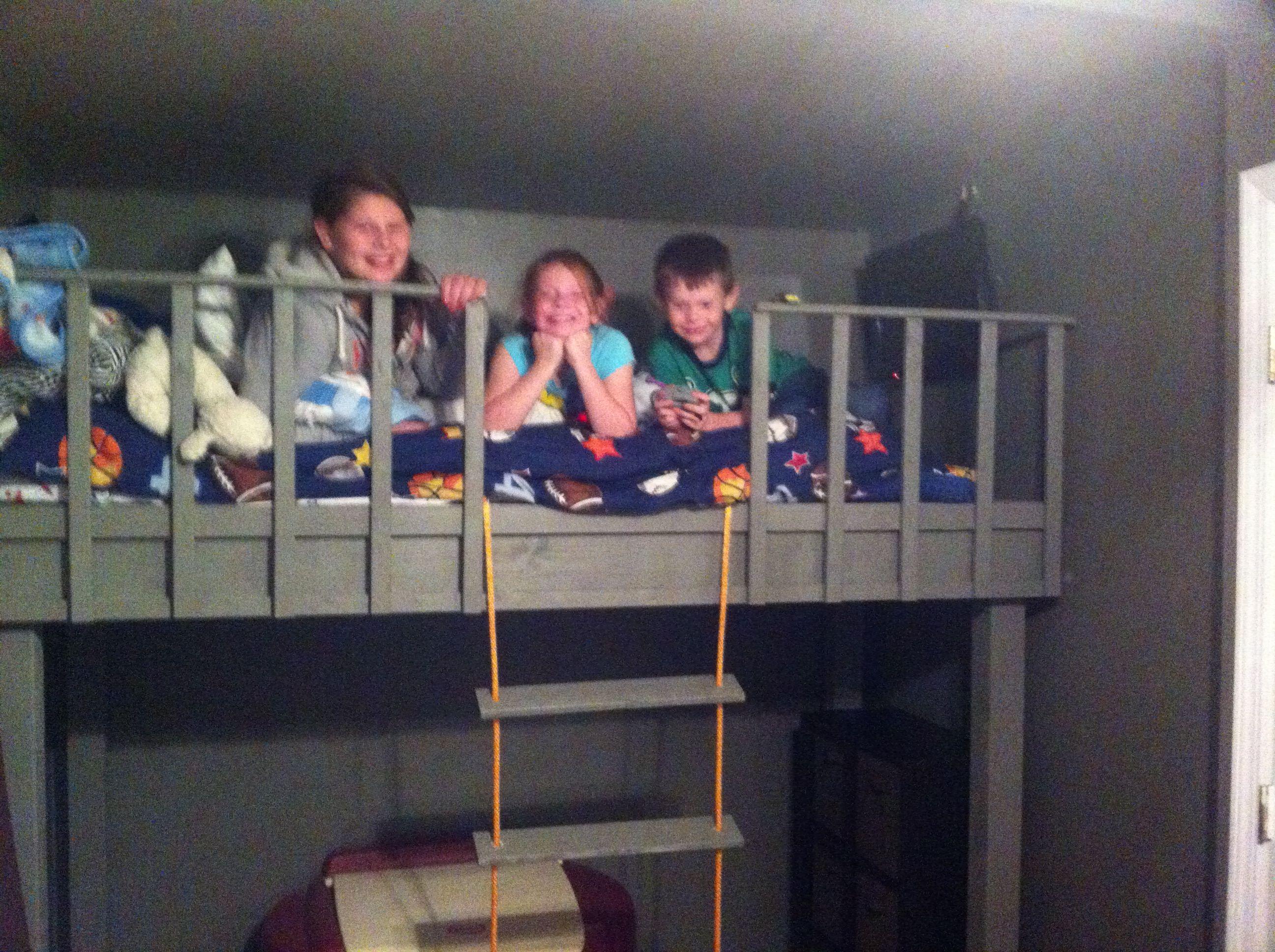 Loft bed ideas diy  Boys DIY loft bed with rope latter  Alius Room  Pinterest  Room