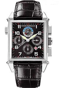 Girard-Perregaux Vintage 1945 Chrono GMT Men's Auto Watch 18K White Gold Black on Black Strap