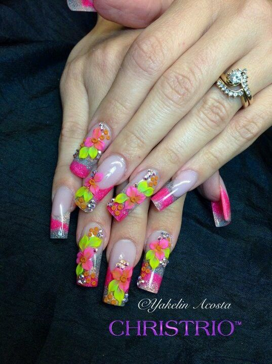 Very Colorful Bling Out Nails Pinterest Encapsulated Nails