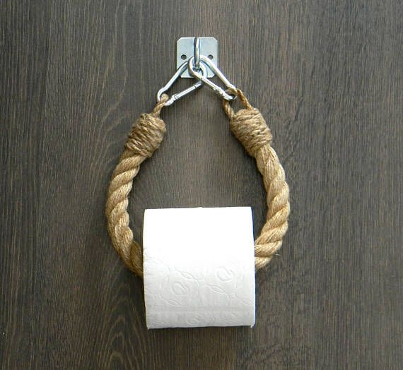 Photo of Toilet Paper Rope Holder .. Industrial Design .. Toilet Roll Holder .. Jute Rope Nautical Decor .. Bathroom furniture. towel rail