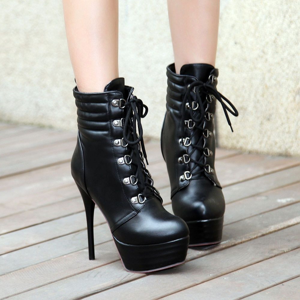 Women's Sexy Mid Stiletto Heels Pointed Toe Buckle Ankle Boots Motor Booties With Side Zipper