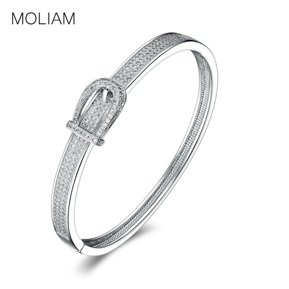 Moliam unique design belt shaped bangle bracelet for ladies silver