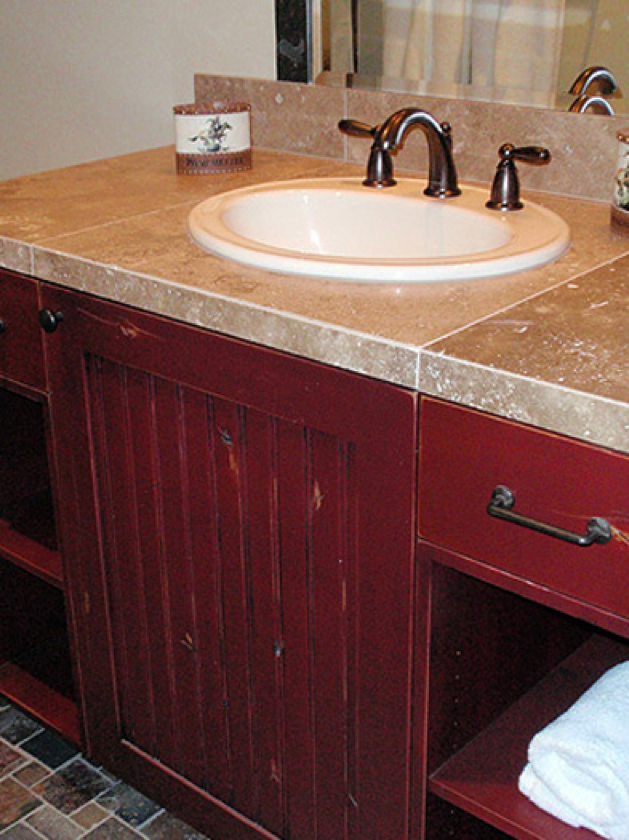 Barn Red Bathroom Vanity With Images