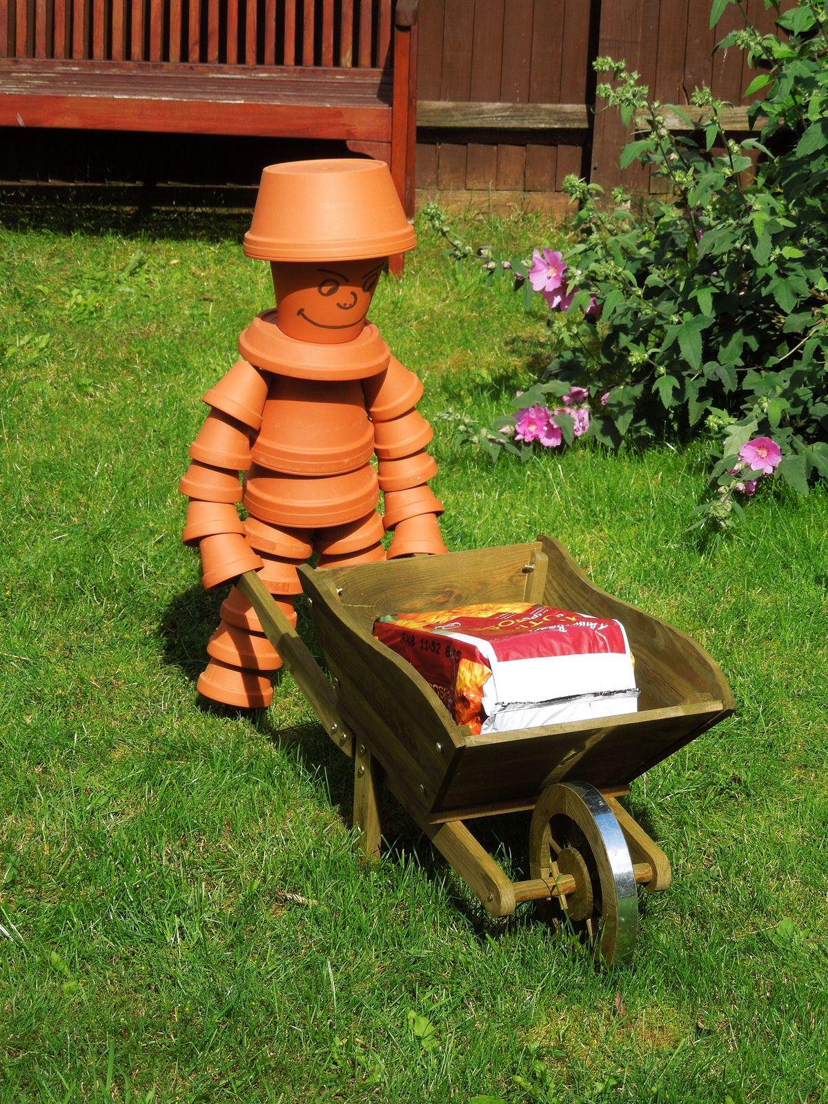 Flower pot man flower pot art clay pot projects