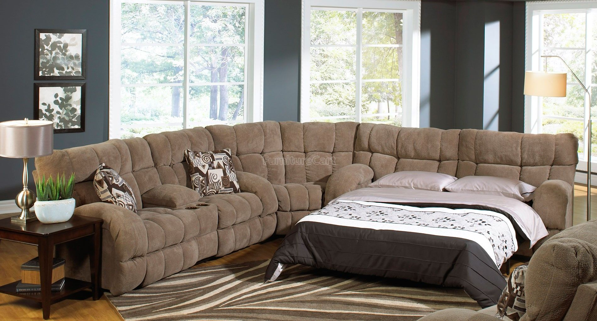 Siesta Reclining Sectional W Sleeper Porcini Sectional Sofa