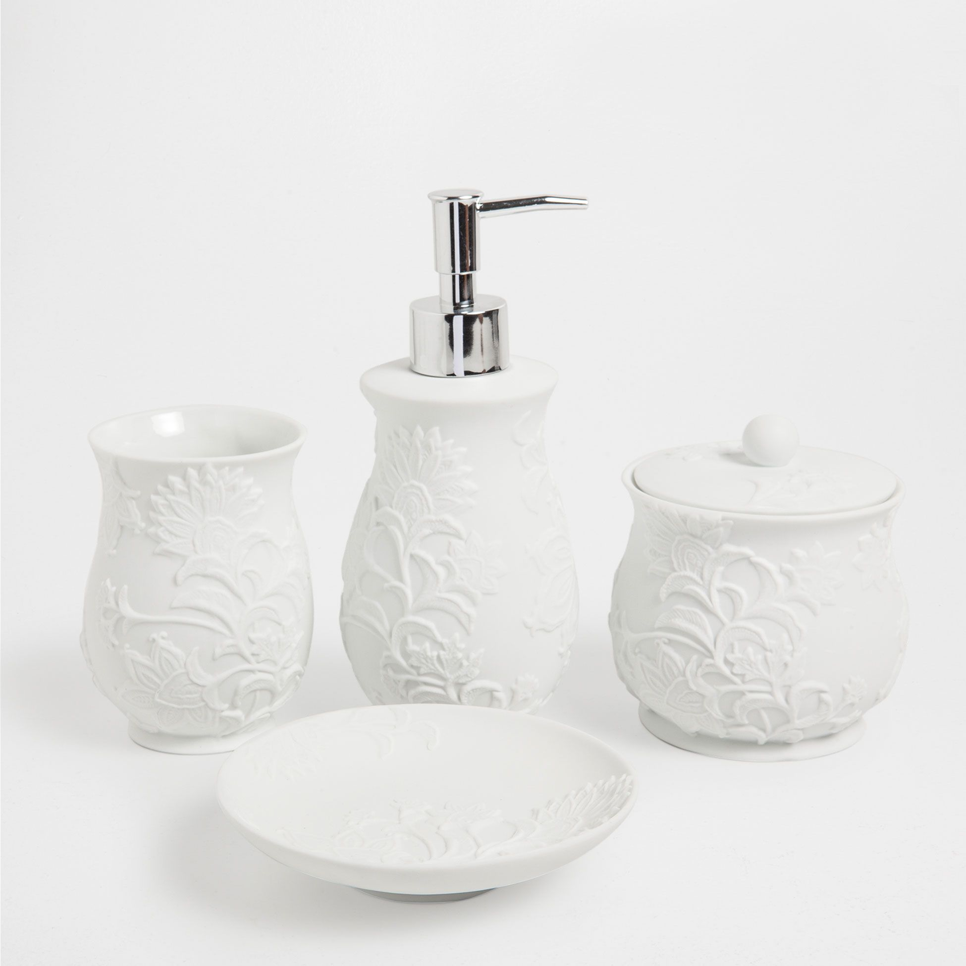 Escobilleros De Baño White Ceramic Bathroom Set Accessories Bathroom Zara