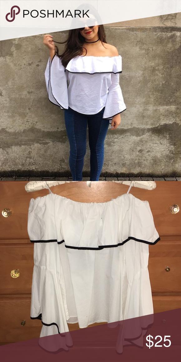 6177fd19fb9a1 ZARA off the shoulder blouse Zara black and white blouse with black trim  detail Zara Tops Blouses