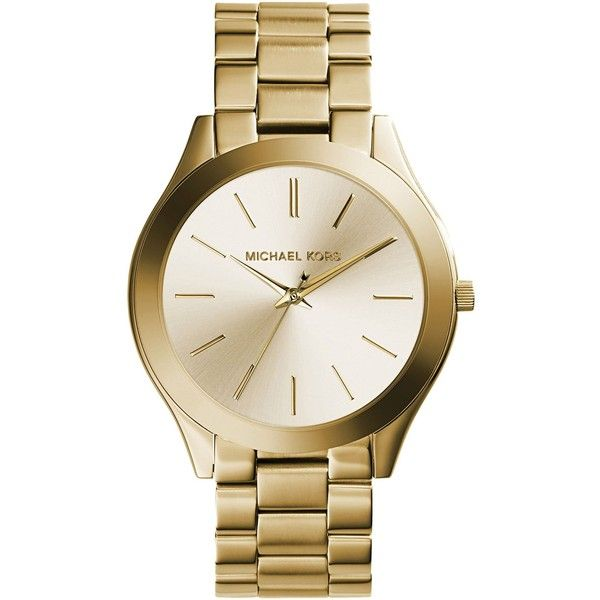 Michael Kors Wrist Watch ($308) ❤ liked on Polyvore featuring jewelry, watches, gold, stainless steel jewellery, stainless steel wrist watch, stainless steel watches, michael kors and michael kors jewelry