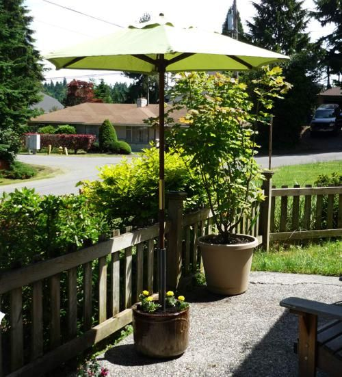 Made In The Shade A Unique Planter Pot Umbrella Stand Patio Umbrellas Diy Unique Planter Outdoor Umbrella Stand