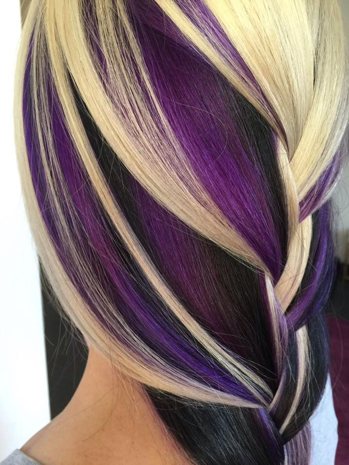 Deep Purple And Blonde Hair Color With Big Braids Hair Styles Purple Hair Hair Color Highlights