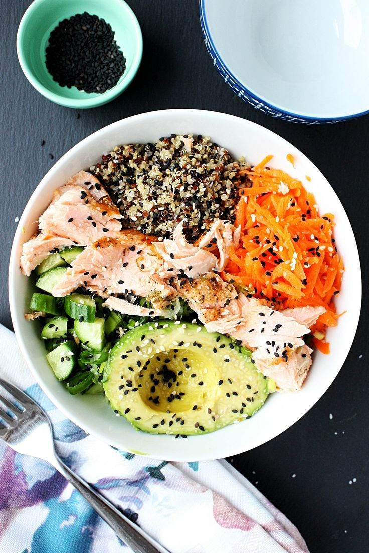 Photo of Poke bowl recipe with quinoa and salmon || Thinking of taste deconstructed su …