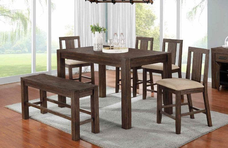 D315 6pc 6 Pc Millwood Pines Fionn Dark Walnut Finish Wood Counter Height Dining Table Set With Bench In 2020 Counter Height Dining Table Dining Table Wood Counter