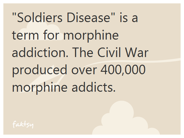 """""""Soldiers Disease"""" is a term for morphine addiction. The Civil War produced over 400,000 morphine addicts."""