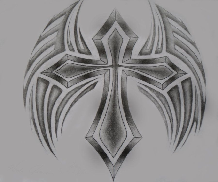 drawings of cross with rose | Tribal Cross Wing by ...