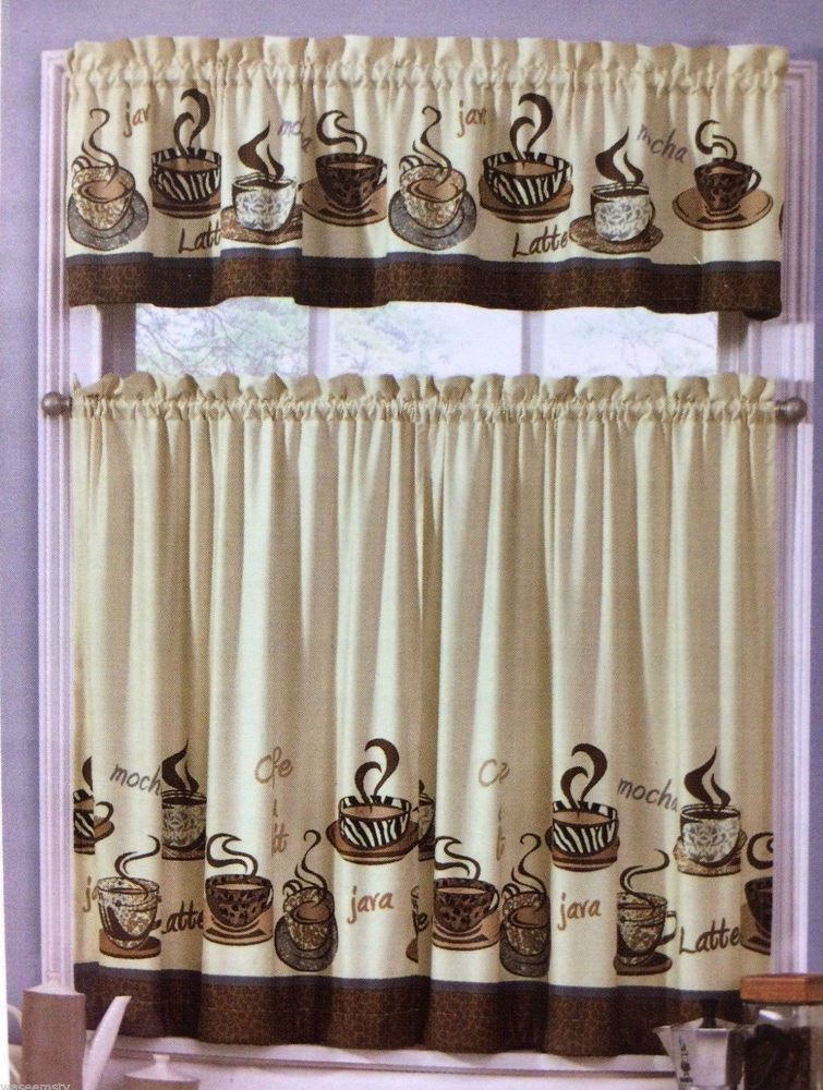Cafe Latte Zebra Animal Print Tiers Valance Tans