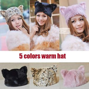 5 Colors Fashion Animal Cat Ears Plush Faux Fur Stuffed Warm ...