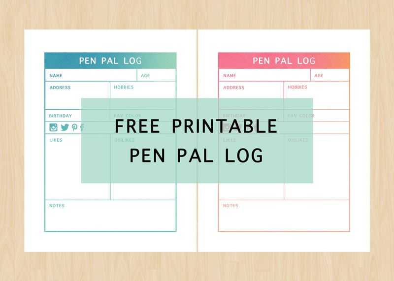 Free Printable Pen Pal Log! Keep track of your pen pals with