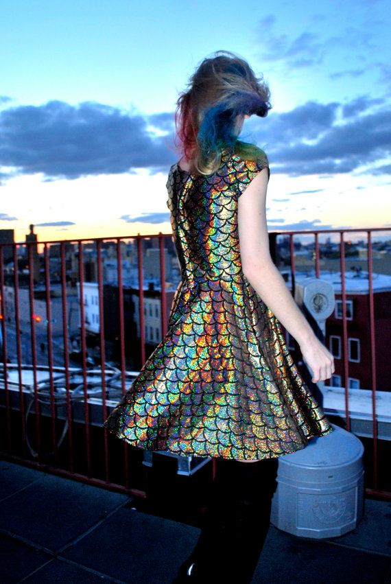 d886151470 The Rainbow Fish Mermaid Skater Dress by DEVOWEVO Holographic Dress