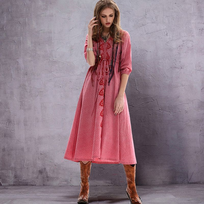 63f7d157dc4 Women Summer Sexy Bohemia Pink Casual Maxi Dress With Sleeves 2017 New Lace  Vintage Hand Embroidered