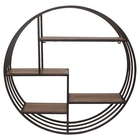 showcasing a round silhouette and 4 tiers this artful metal wall shelf is a handsome