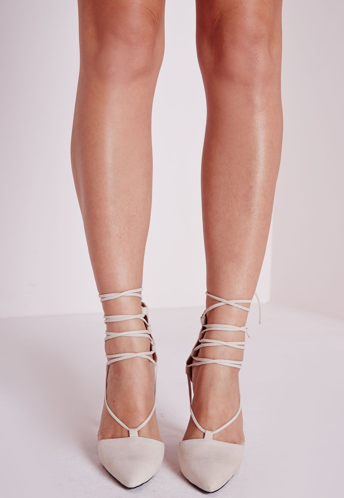 a89665db1d73 Missguided - Lace Up Pointed Toe Heels Nude