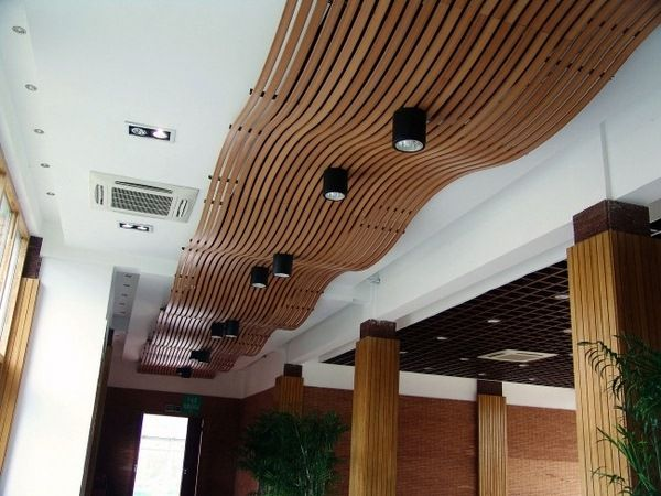 Wooden Suspended Ceiling Panels Curved Decorative Recessed