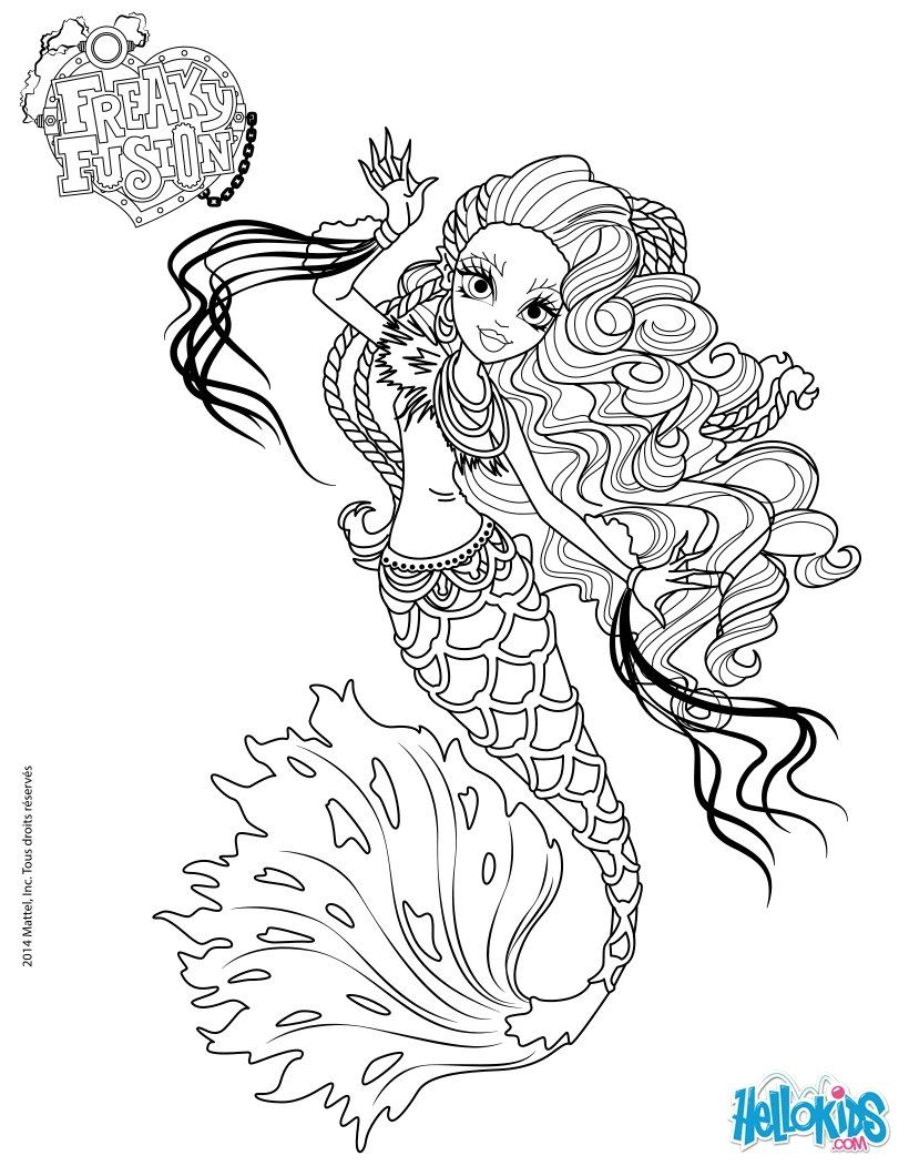 Ausmalbilder Von Monster High : Monster High Freaky Fusion Sirena Von Boo Coloring Page Coloring