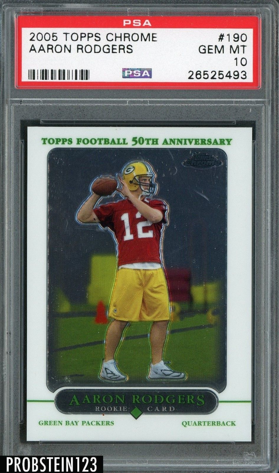 2005 Topps Chrome 190 Aaron Rodgers Green Bay Packers Rc Rookie Psa 10 Gem Mint Aaron Rodgers Rodgers Packers Rodgers Green Bay